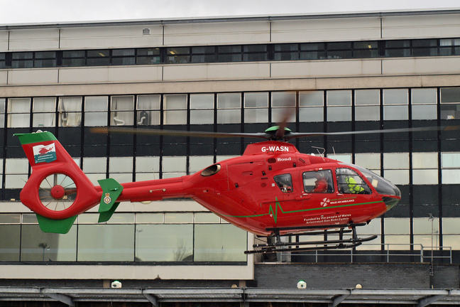 Wales Air Ambulance Landing at University Hospital Wales