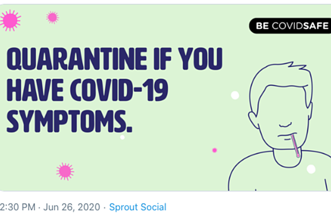 Tweet from Australian Government Department of Health encouraging people with COVID-19 symptoms to quarantine themselves