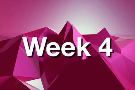 """Within pink mountain with """"week 4"""" written on it."""
