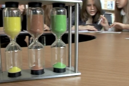 The egg timers used by the teacher in Step 3.14 to time her students