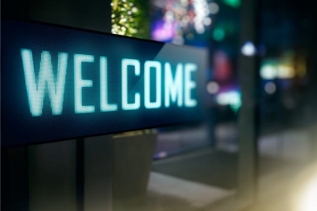 LED display with the word Welcome