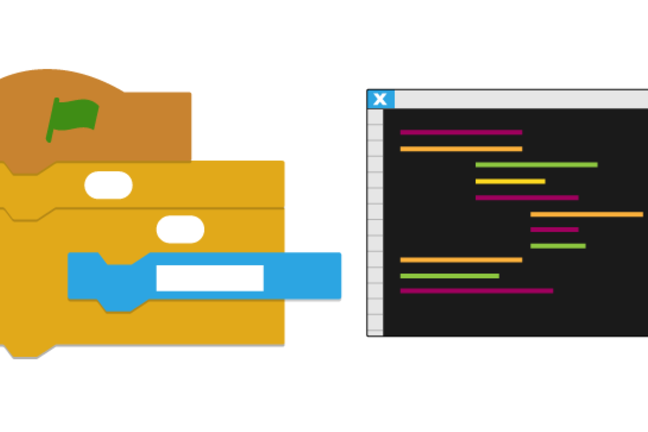Cartoon image of Scratch block and Python block