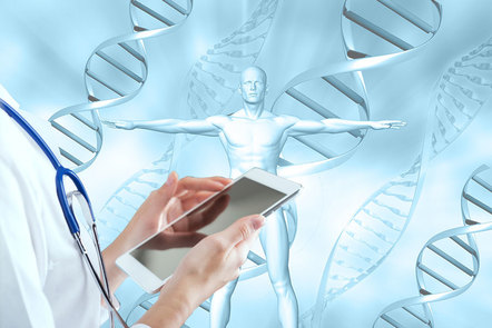 Doctor holding a tablet device over a DNA stand background