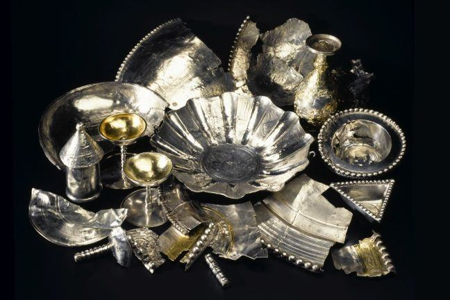 Part of the Traprain hoard containing many silver items and fragments