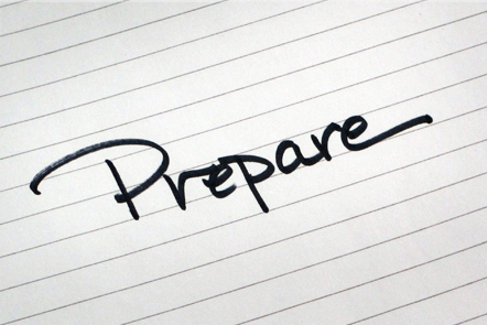 A page with the word 'Prepare' written down.