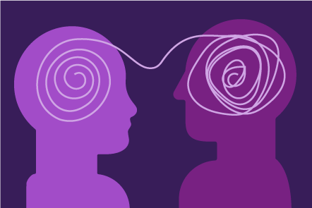 Illustration of two heads in profile, joined by a squiggly line. The head on the right-hand side has a tangled line and the one on the left has a clear untangled line inside the head.
