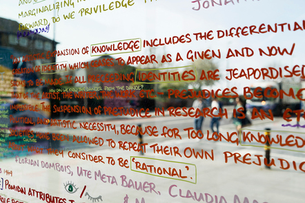 Decorative image, text written on a glass window in various colours with some words highlighted, for the 2015 RCA research biennial.