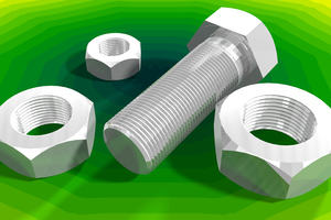 Image of nuts and bolts on green background
