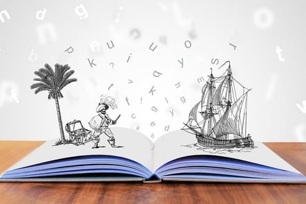 An open book with images of pirates and a treasure island leaping out from the pages