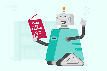 "An illustration of a robot character reading a ""Code to English phrase book"""