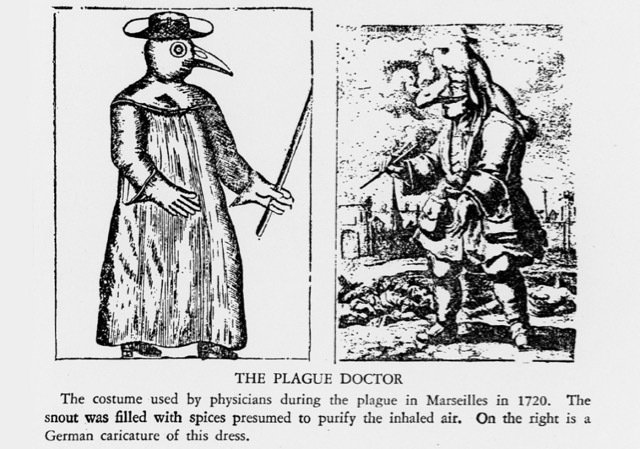 A drawing of a plague doctor in the 1700s, wearing a long robed costume with a snout in front of the nose to purify the air. Also shown is a caricature of the same outfit.