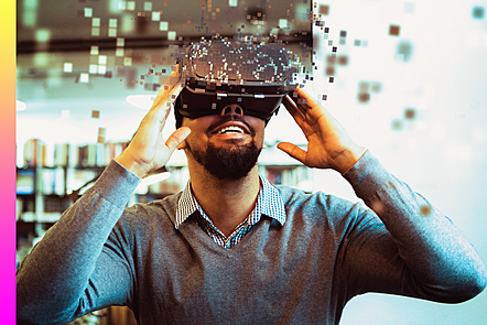 Individual wearing VR headset