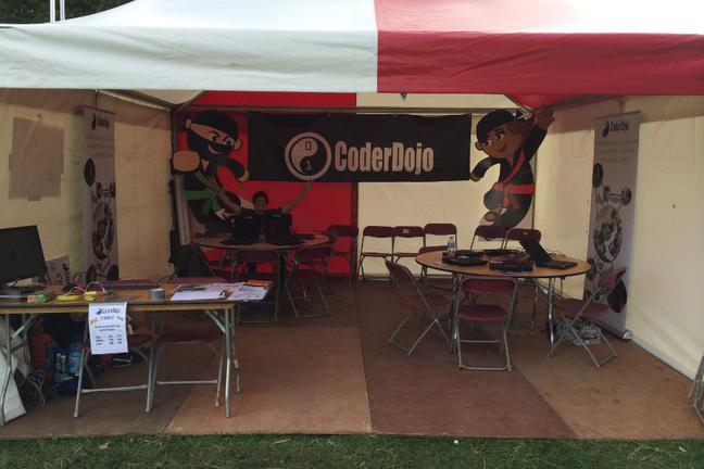 Tent set up as CoderDojo