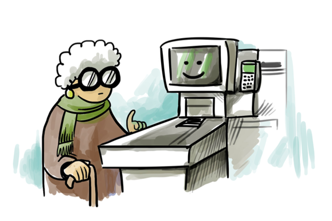 elderly lady at check out machine