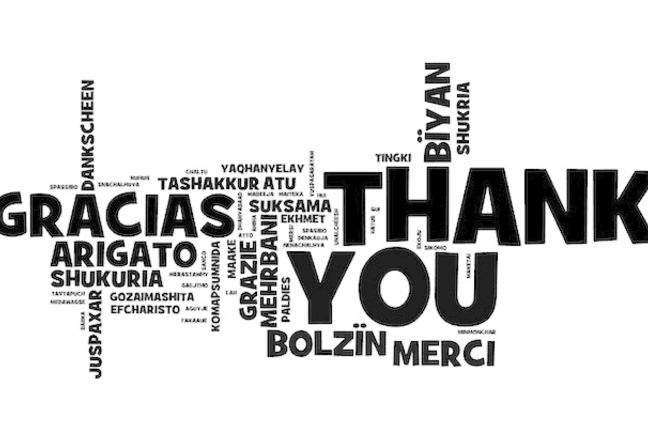 Word cloud with thank you in many languages