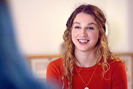 Anna being interviewed.