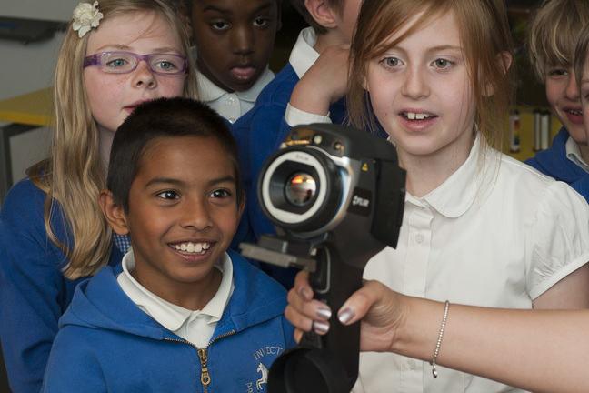 Children using an infrared camera.
