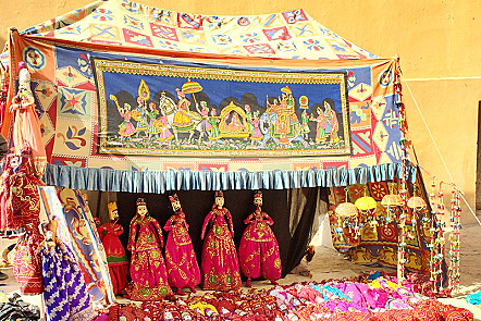 Brightly coloured puppet show in Amer Fort, Rajasthan, India