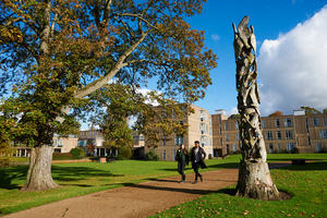 (c) John Houlihan - Image of students walking at the University of York campus