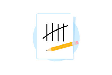 An illustration of a notepad with 5 drawn lines representing the number 5
