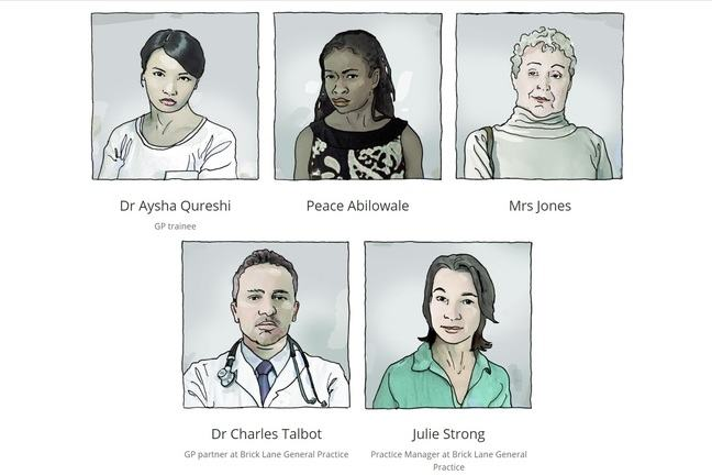 Illustration showing portrais of staff at Brick Lane General Practice: Dr Aysha Qureshi (GP trainee), Dr. Charles Talbot (GP partner), Julie Strong (Practice Manager) and Peace Abilowale  & Mrs Jones