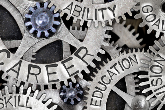 Many cogs working together with words on them; career education, ability and skill.