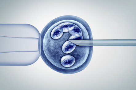 Image depicting In-vitro fertilisation with question mark
