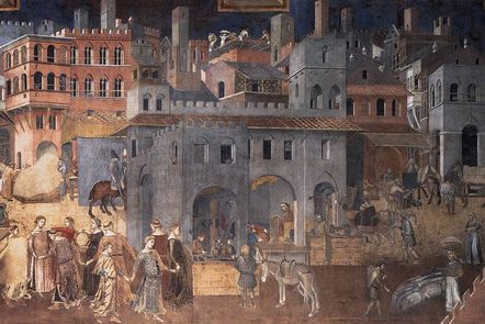 "Detail from the fresco panel ""The Allegory of Good and Bad Government"" by Ambrogio Lorenzetti (1339)."