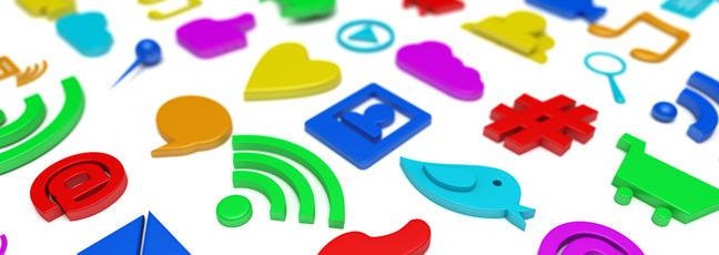 various social and digital media icons