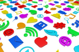 various social and digital media icons