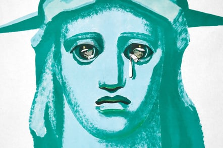 Statue of Liberty with men in the eyes. One holds a bag giving her the appearance of shedding a tear.
