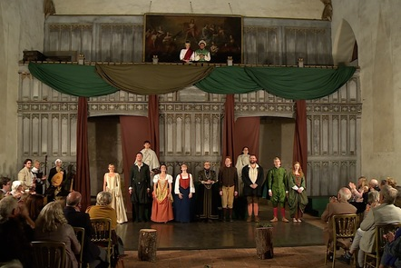 """Photo of stage and cast from """"Love's Victory"""" at Penshurst Place (2018)."""