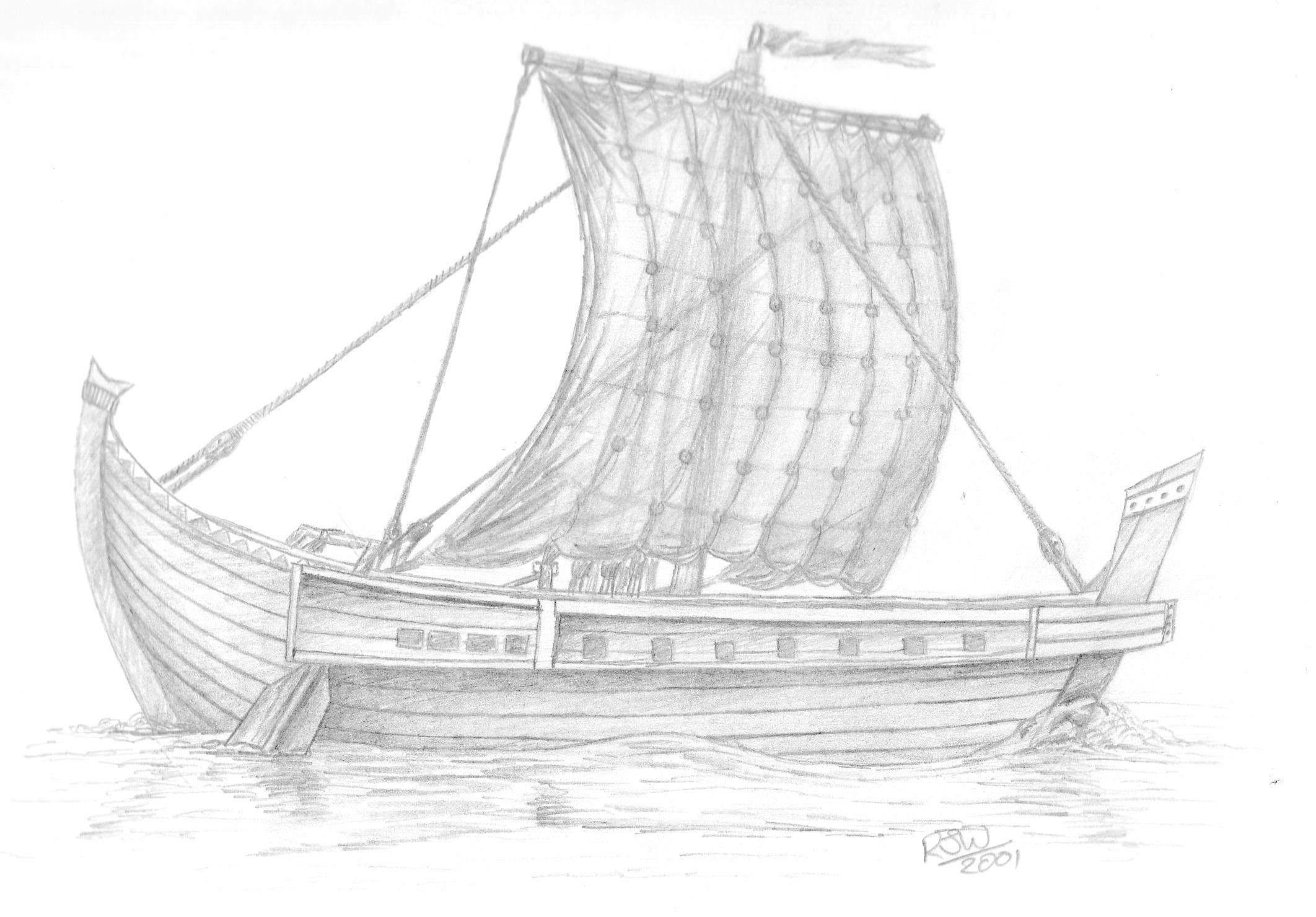 Artistic impression of a Roman period Sailing Ship
