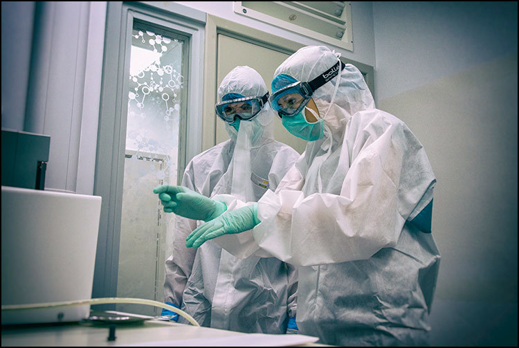 Scientists analyse DNA samples in a lab