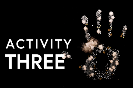 Hand print with text saying activity 3