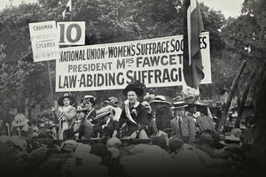 Millicent Fawcett, President of the National Union of Women's Suffrage Societies, addressing a crowd in Hyde Park in 1913. The banner behinds Mrs Fawcett reads 'Law-Abiding Suffragists'.