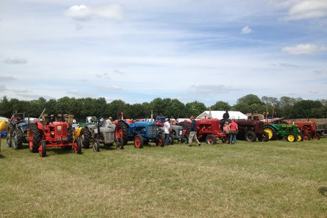 A field full of tractors