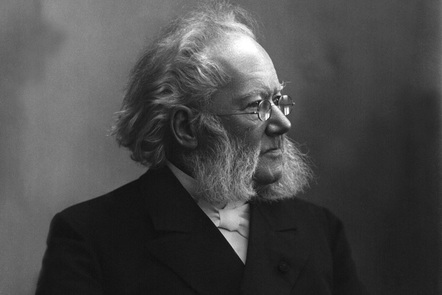 A black and white photograph of Henrik Ibsen.