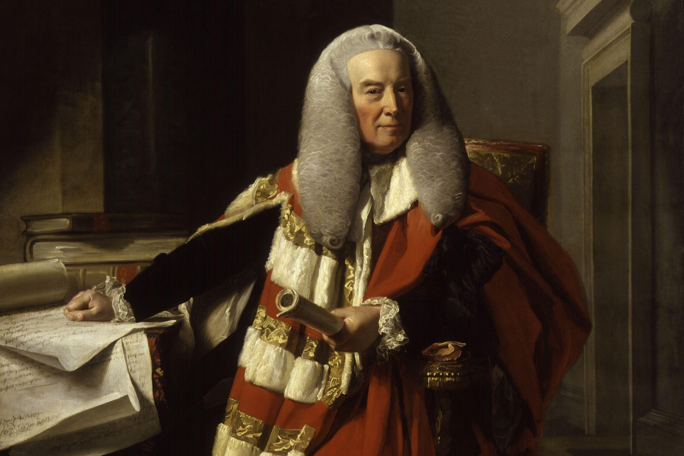 Portrait of Lord Mansfield wearing legal robes and long grey wig, with legal papers