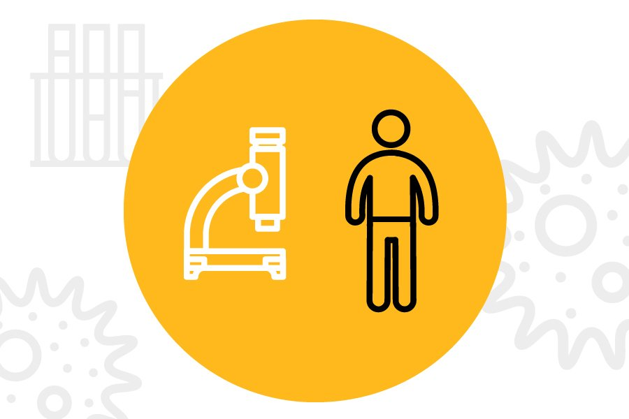 A cartoon image of a person is standing beside a microscope. A yellow circle contains both figures while sketches of microscopic organism and a rack of test tubes is seen on the white background.