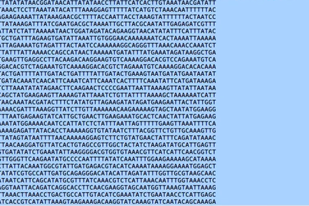 Text file containing ATCG leters representing genome sequence