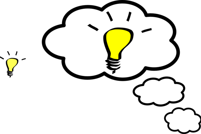 Vector image of thought cloud with a yellow light bulb inside