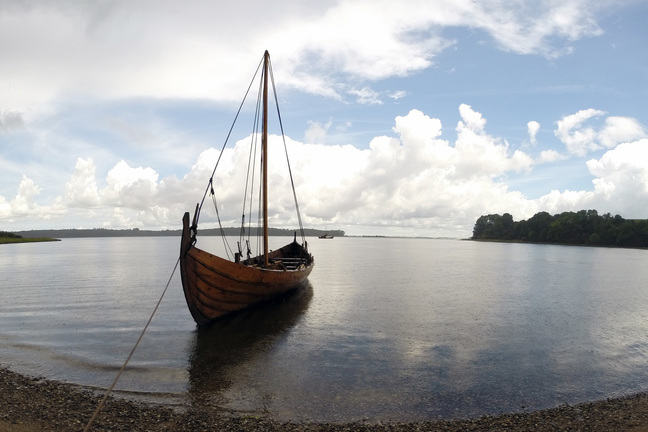 A reconstruction of Skuldelev 6, beached at Boserup Skov in Roskilde, Denmark