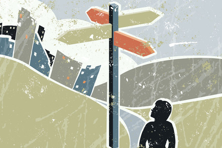 A woman stands on a path. She is looking up at signpost which has signs pointing in four different directions. Illustration.