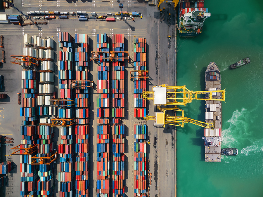 Aerial storage containers before transport dock, top view, Thailand.