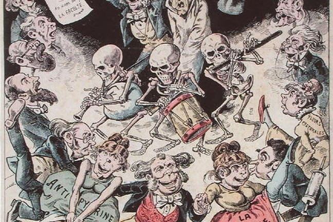"""Everyone's got the flu"" - cartoon by Pepin, 1889"