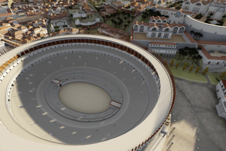 A digital recreation showing an aerial shot of the Colosseum and surrounding buildings.