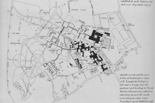 Map of the University of York campus circa 1960