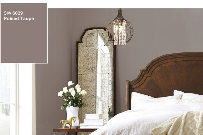 Taupe paint colour in bedroom