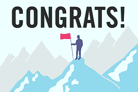 The word 'congrats' in bold letters over an illustration of a man planting a flag on top of a mountain